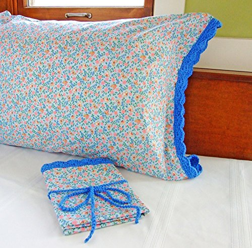 Crochet Pillow Case BLUE FLOWERS and BUTTERFLIES with Crochet Edging, Butterfly Pillow Cases, Butterfly Bedroom Decor, One (1) Standard Size Pillowcas…