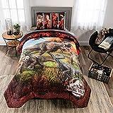 Jurassic World Fallen Kingdom Soft Microfiber Comforter and Sheet Set, Twin Size 4 Piece Kids Bedding Set