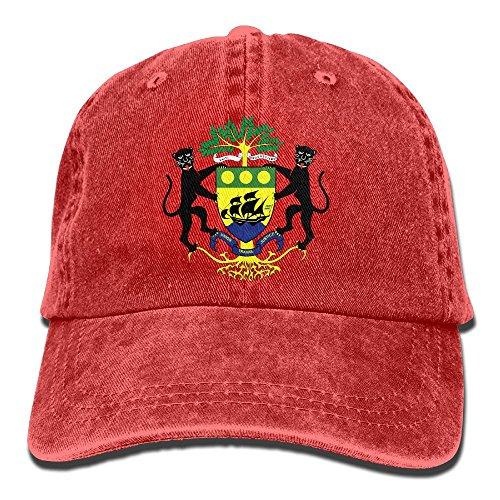 WKP0XKA Men and Women Cap Coat Of Arms Of Gabon Hat Snap-Back Hip-Hop Cap Baseball Hat Head-Wear Cotton Trucker Hats Red (Louis Rams Leather Watch)