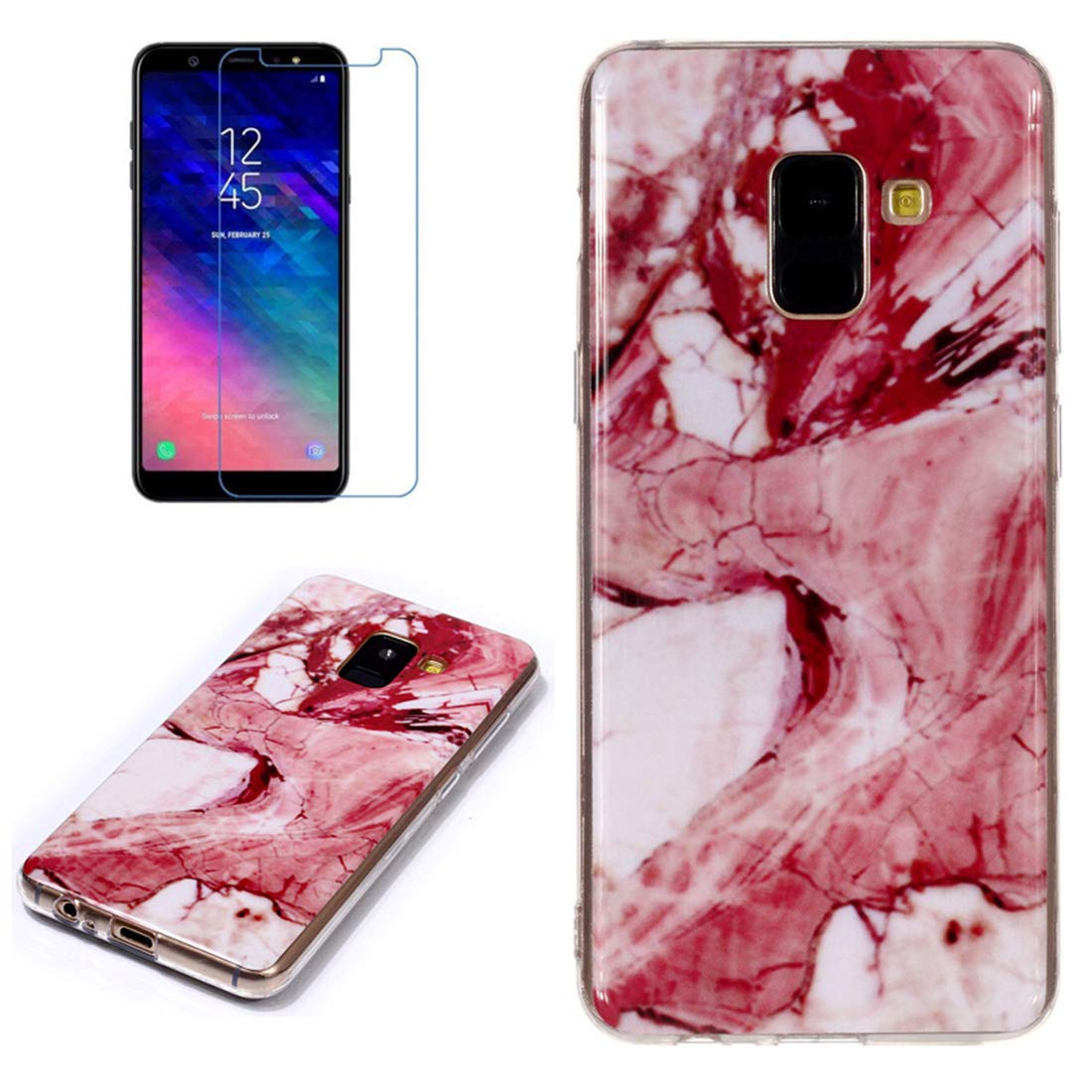for Samsung Galaxy A6 Plus 2018 Marble Case with Screen Protector,Unique Pattern Design Skin Ultra Thin Slim Fit Soft Gel Silicone Case,QFFUN Shockproof Anti-Scratch Protective Cover - Red Texture by QFFUN (Image #1)
