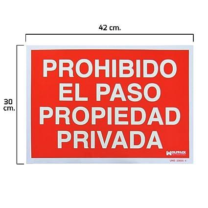 Wolfpack 15051252 Cartel Prohibido el Paso Propiedad Privada, 30 X 42 cm