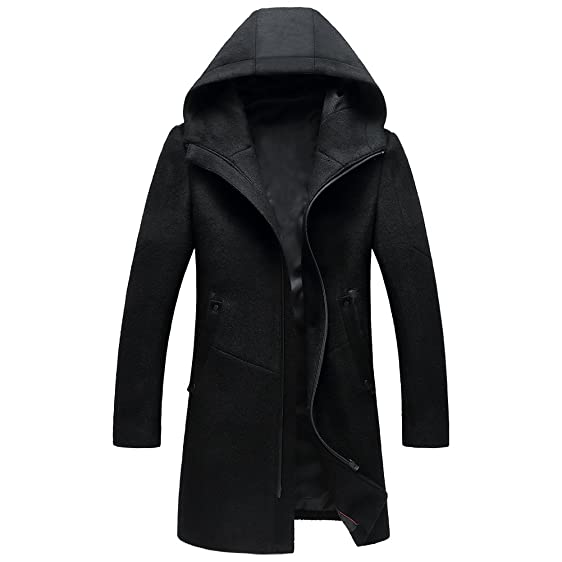 Insun Men's Zipper Wool Coat with Hood Long Wool Blend Trench Coat ...