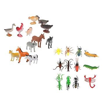 MagiDeal 24 Piezas Modelo de Insectos y Aves de Corral de Plsticos