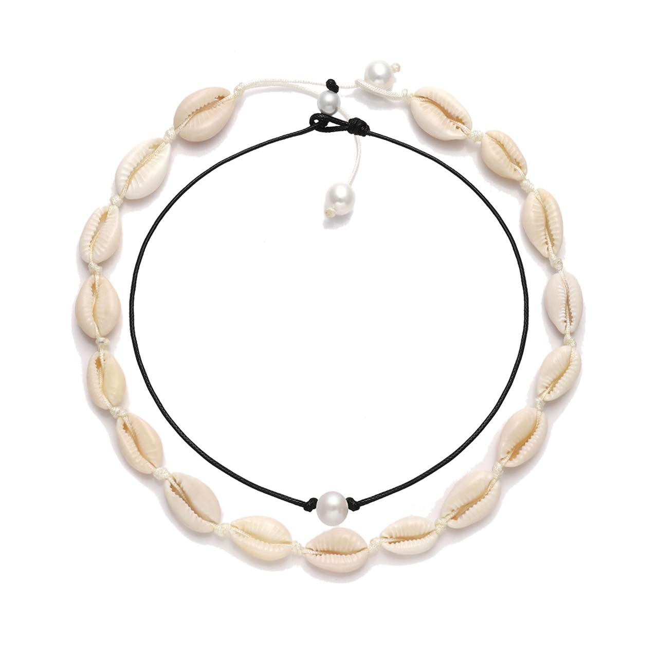 VUJANTIRY Cowrie Shell Choker Necklace for Women Hawaiian Seashell Pearls Choker Necklace Statement Adjustable Cord Necklace Set