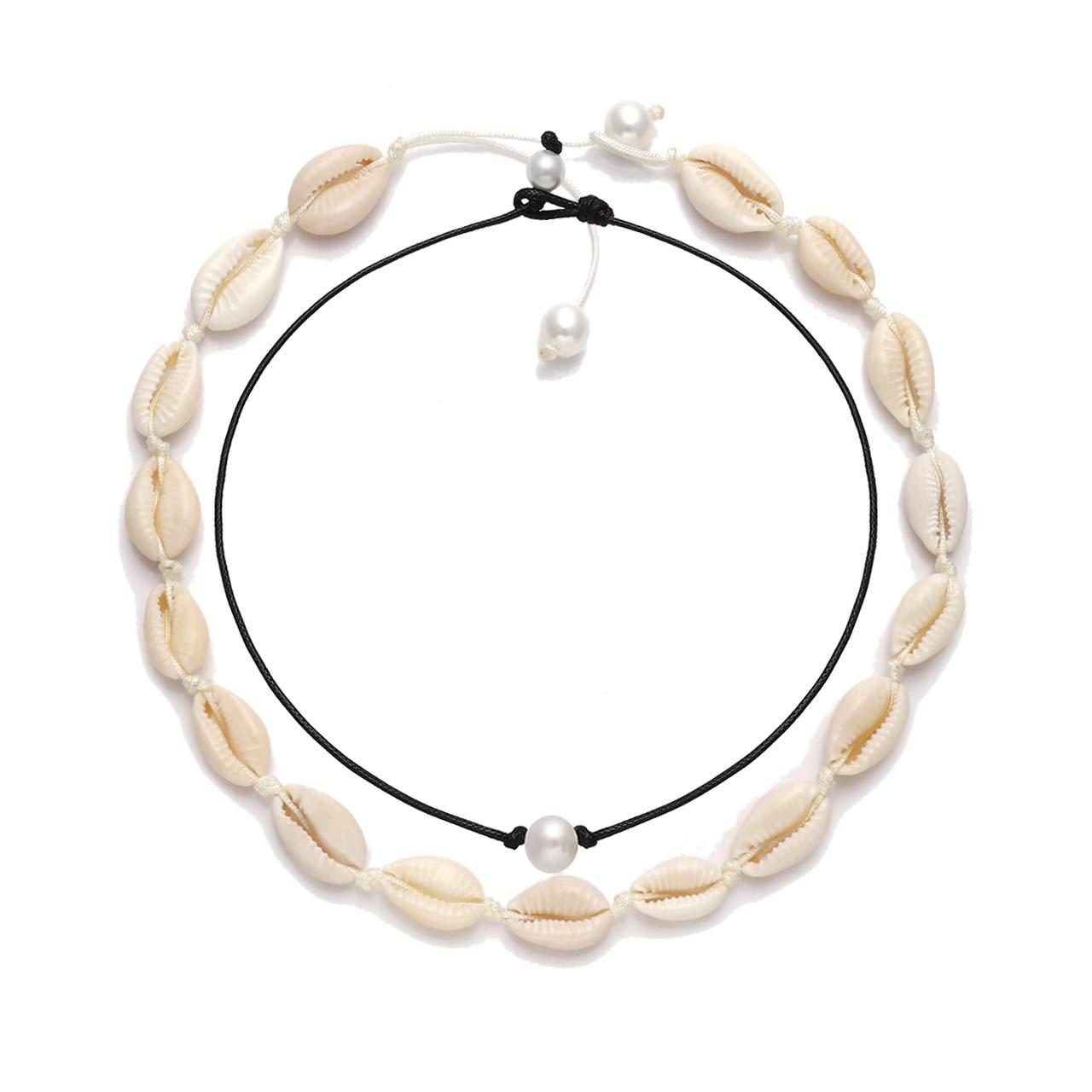 VUJANTIRY Cowrie Shell Choker Necklace for Women Hawaiian Seashell Pearls Choker Necklace Statement Adjustable Cord Necklace Set (Shell&Pearls Choker #1)