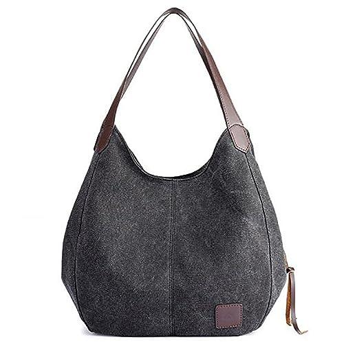 Amazon.com  Jungle Dream Womens Canvas Shoulder Bag Multi-pocket Top Handle  Bag Totes for Girls Ladies Black  Shoes 575fbd29109ff