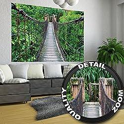 Rope Bridge Jungle - XXL Mural Jungle Bridge - Poster 55 Inch x 39.4 Inch