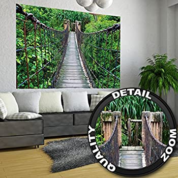 rope bridge jungle xxl mural jungle bridge poster 55 inch x 39 4 inch. Black Bedroom Furniture Sets. Home Design Ideas