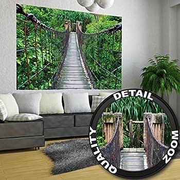 rope bridge jungle xxl mural jungle bridge poster 55. Black Bedroom Furniture Sets. Home Design Ideas