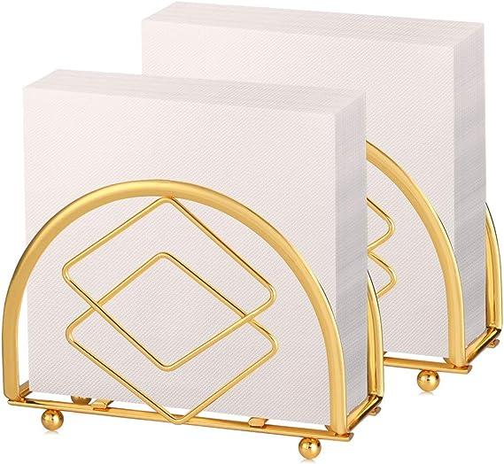 Buruis Modern Paper Napkin Holder 5x3 5 Inch Shiny Gold Decorative Napkin Holder For Tables Kitchen Restaurant And Bar Decor Tabletop Freestanding Tissue Dispenser Set Of 2 Gold Rhombus Kitchen Dining Amazon Com