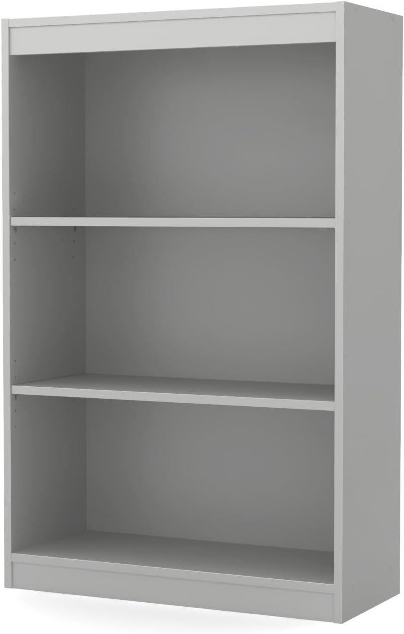 South Shore 3-Shelf Storage Bookcase, Soft Gray