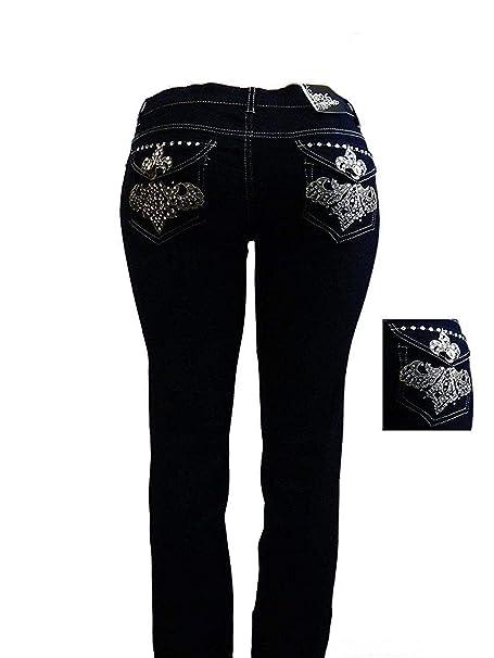 d979dd6aadb Jack David Fleur de lis Stretchy Black Blue Denim Jeans Womens Plus Size  Skinny Pants PJ