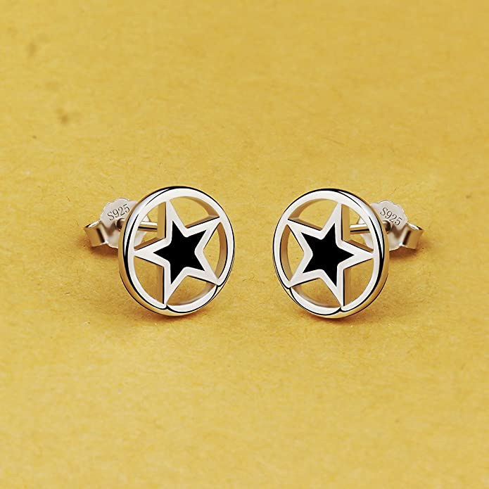 Viyino Fashion 925 Sterling Silver Black Paint Outer round and inner star Shape Studs Earrings uCvd8s
