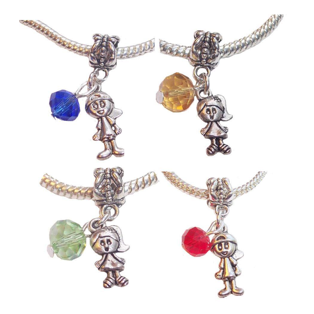 Baby Birthstone Boy Girl Crystal Bead Dangle Charms for European Slide Bracelets Fashion Jewelry for Women Man