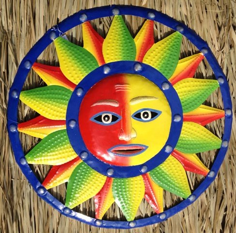 Metal Sun Hanging Wall Art - Bright Colorful Painted metal wall art