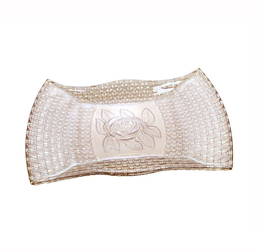 ファッションオリジナリティ織りローズシェーディングフルーツプレートリビングルーム織りクリスタルガラストレイフルーツトレイ   B07F8T33X7