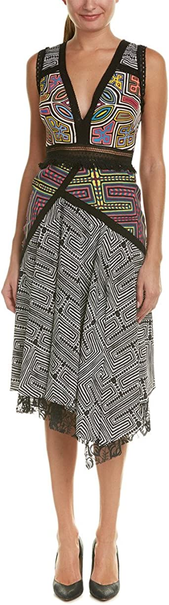 Nicole Miller Womens Mola Maze Combo Aysymmetrical Dress