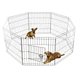 OxGord 8-Panel Folding Wire Fence Exercise Pen with Door for Pets, 64 by 64 by