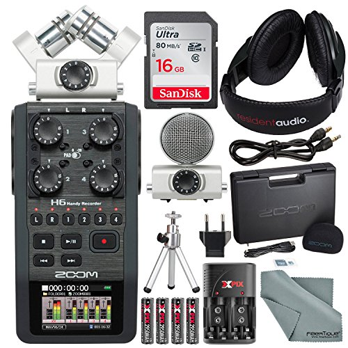 Zoom H6 Six-Track Portable Recorder with Interchangeable Microphone System with Deluxe Accessory Bundle ()