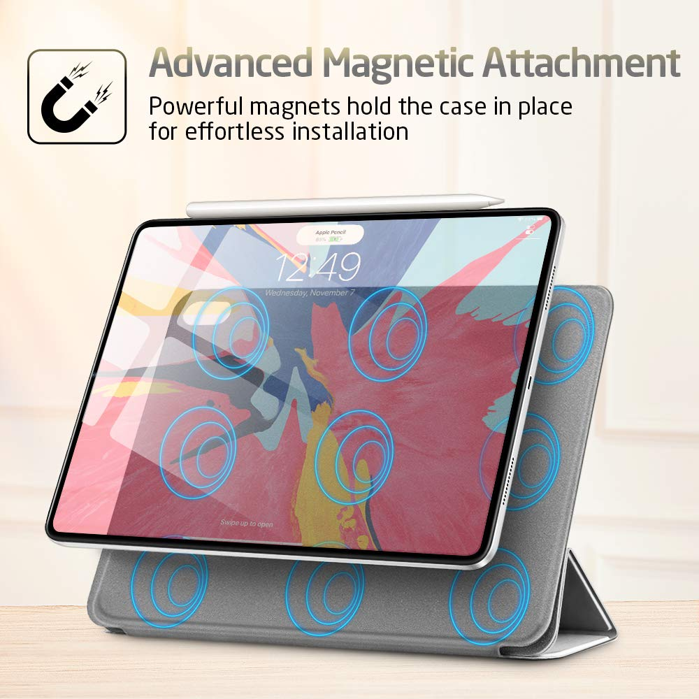 "esr Yippee Magnetic Smart Case for iPad Pro 11"" 2018, [Support Apple Pencil Charging] Trifold Stand Case, Magnetic Attachment, Auto Sleep/Wake, Rubberized Cover for The iPad Pro 11"" 2018,Silver Gray"