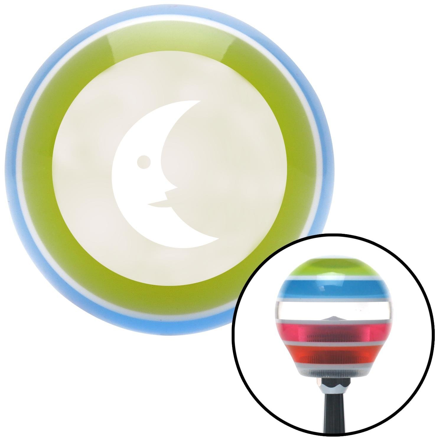 American Shifter 137015 Stripe Shift Knob with M16 x 1.5 Insert White Crescent Moon Smiling