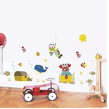 Pegatina Decorativo Infantil de FYX Pegatina Adhesiva para Pared Extraíble Dibujos Animados, DIY Decoración de