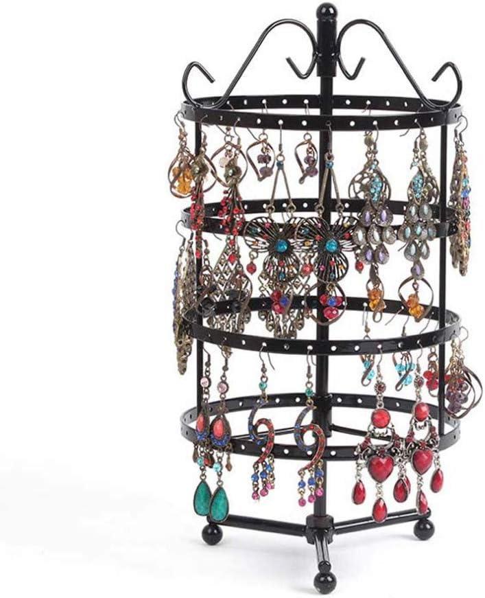Souarts 1PC Pr/ésentoir Porte-Bijoux Rotatif en Fer pour Boucles doreilles Afficher Bracelets Colliers Boucles 144 Trous