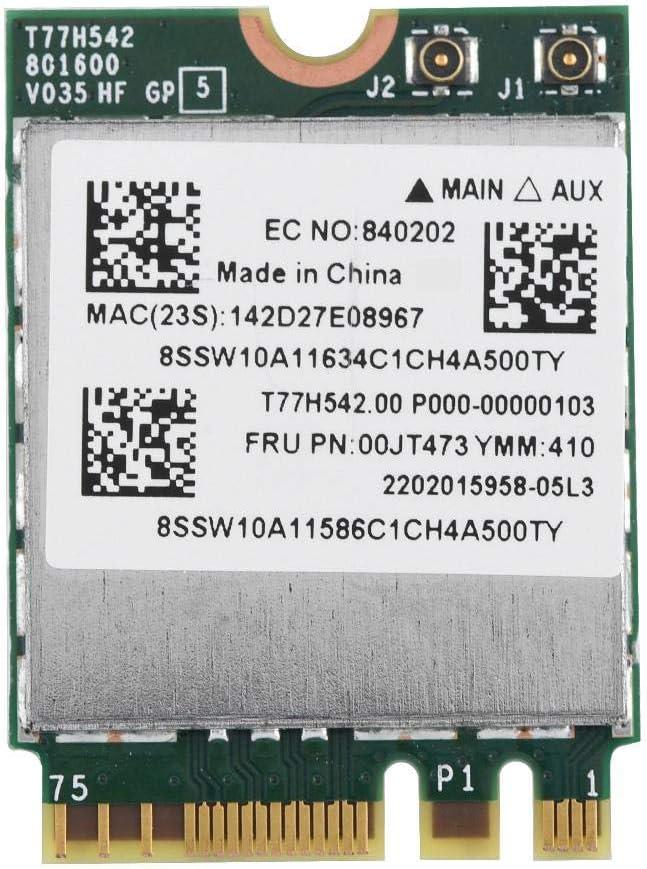 Tarjeta WiFi, Doble Banda 433 Mpbs Red NGFF M2 Wireless WiFi Tarjeta 802.11AC Red inalámbrica para Lenovo.