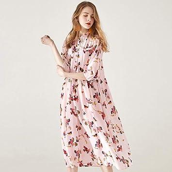 Vestido Vestido de Novia Falda Vestido de Seda Manga Corta Rosa ...