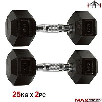 Hex - Mancuernas (25 kg mancuernas de goma par formación gimnasio ejercicio: Amazon.es: Deportes y aire libre