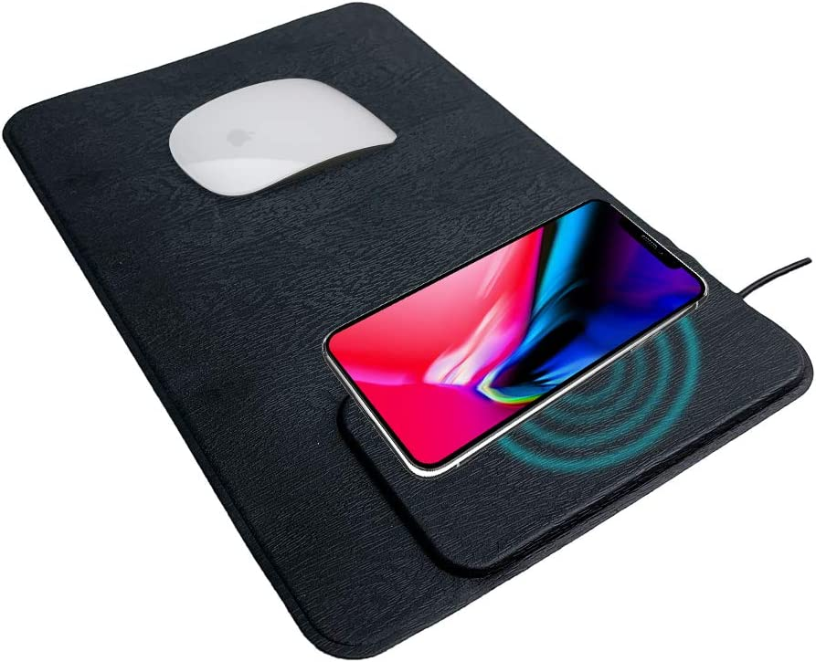 JADJ Wireless Charger Mouse Pad Mat, Wireless Charging Gaming Mouse Mat (Leather, 10W, Black) for iPhone12/iPhone 11 Pro/XR