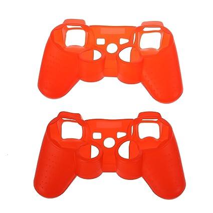 Funda del controlador - TOOGOO(R) Funda piel de silicona suave rojo (2 Paquetes) Compatible con Sony PS3 controlador