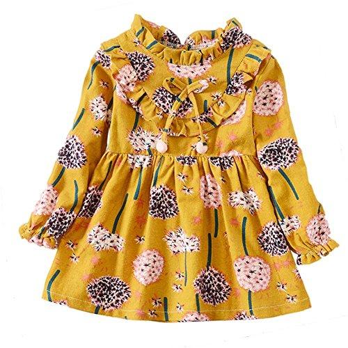 Weixinbuy Kid Baby Girls Ruffled Collar Long Sleeve Princess Party Wedding Flower Dresses (Ruffled Princess)