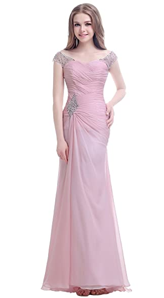 yan qiong Womens Beading Chiffon Formal Prom Dresses Sweep Train Evening Gown Pink XS