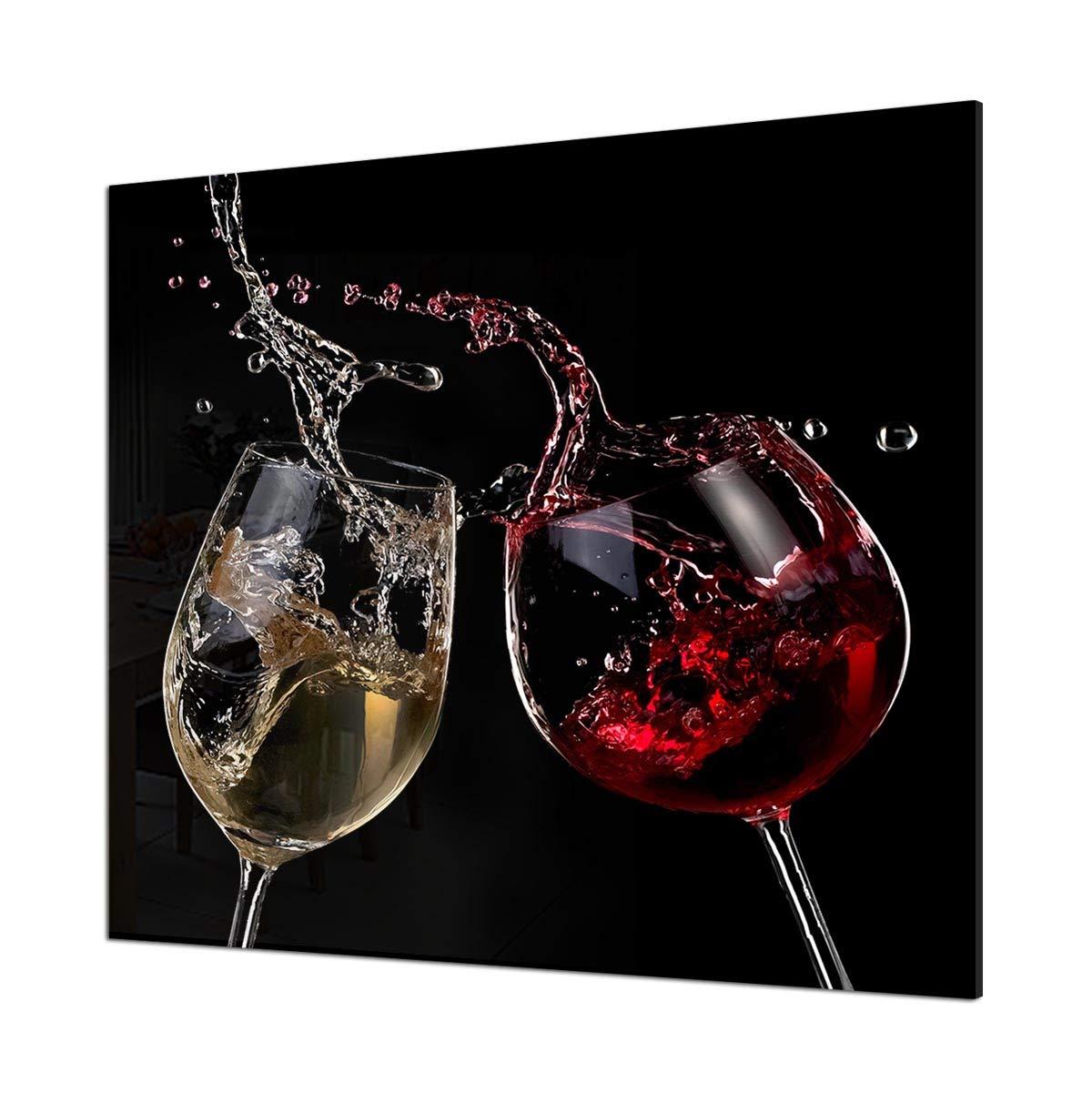 Printed Kitchen Glass Splashback Heat Resistant Toughened Glass Red /& White Wine on Black Design 40 x 60cm - Mirror Screw Fixing