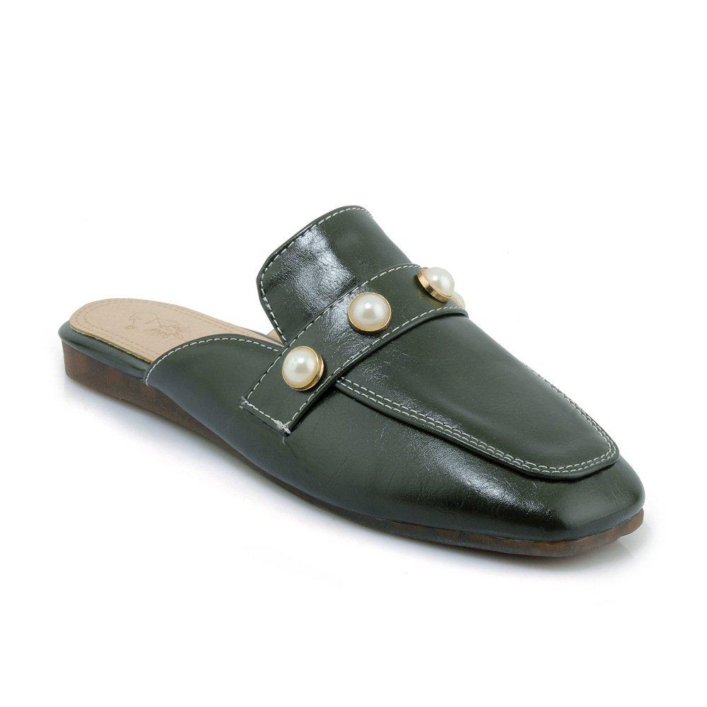 Unbekannt Sandalen Damen Vintage Quadratischen Kopf Flach Groß Flip Flop grün 40