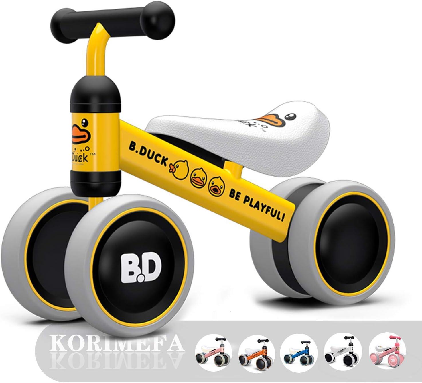 YUHT Bicicleta sin Pedales para Niños Bicicleta de Balance para Bebé Cuatro Ruedas Primer Regalo de Cumpleaño de Bicicleta para Bebé de 1-2 años (Pato Amarillo)