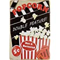 Uniq Designs Popcorn Double Feature 8a X 12a Custom Vintage Retro Comic Metal Tin Sign