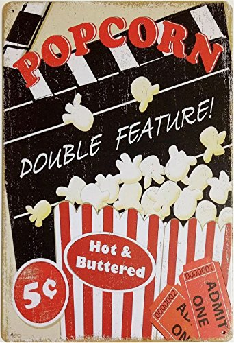 UNiQ Designs POPCORN DOUBLE FEATURE Media Room Decor Tin Signs Theater Sign - Movie Room Decor Accessories - Film Decor - Home Movie Theater Decor - Movie Reel Wall Decor ()