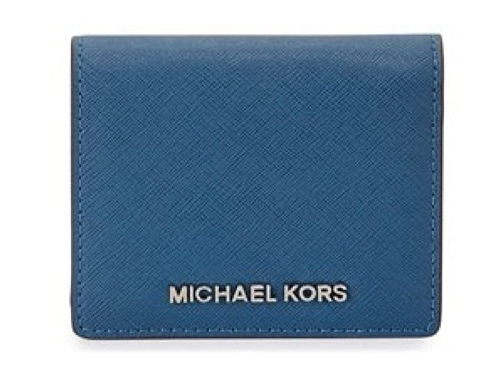 fc197939c20f Amazon.com: Michael Kors Jet Travel Leather Credit Card Case ID Key Holder  Wallet in Steel Blue: Clothing