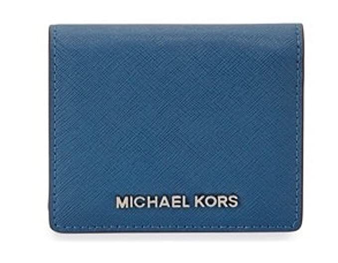d39b717f5fb92 Image Unavailable. Image not available for. Color  Michael Kors Jet Travel  Leather Credit Card Case ID Key Holder ...