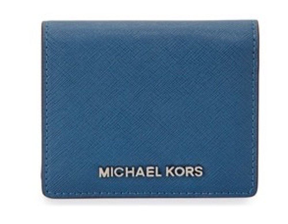 Michael Kors Jet Travel Leather Credit Card Case ID Key Holder Wallet in Steel Blue
