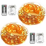 2 Set Fairy Lights Battery Operated String Lights 5M 50 LED Starry String Lights Copper Wire Fairy Lights Firefly Lights with Remote for Festival Party Wedding Garden Bedroom Decoration/Lighting Use-Warm White