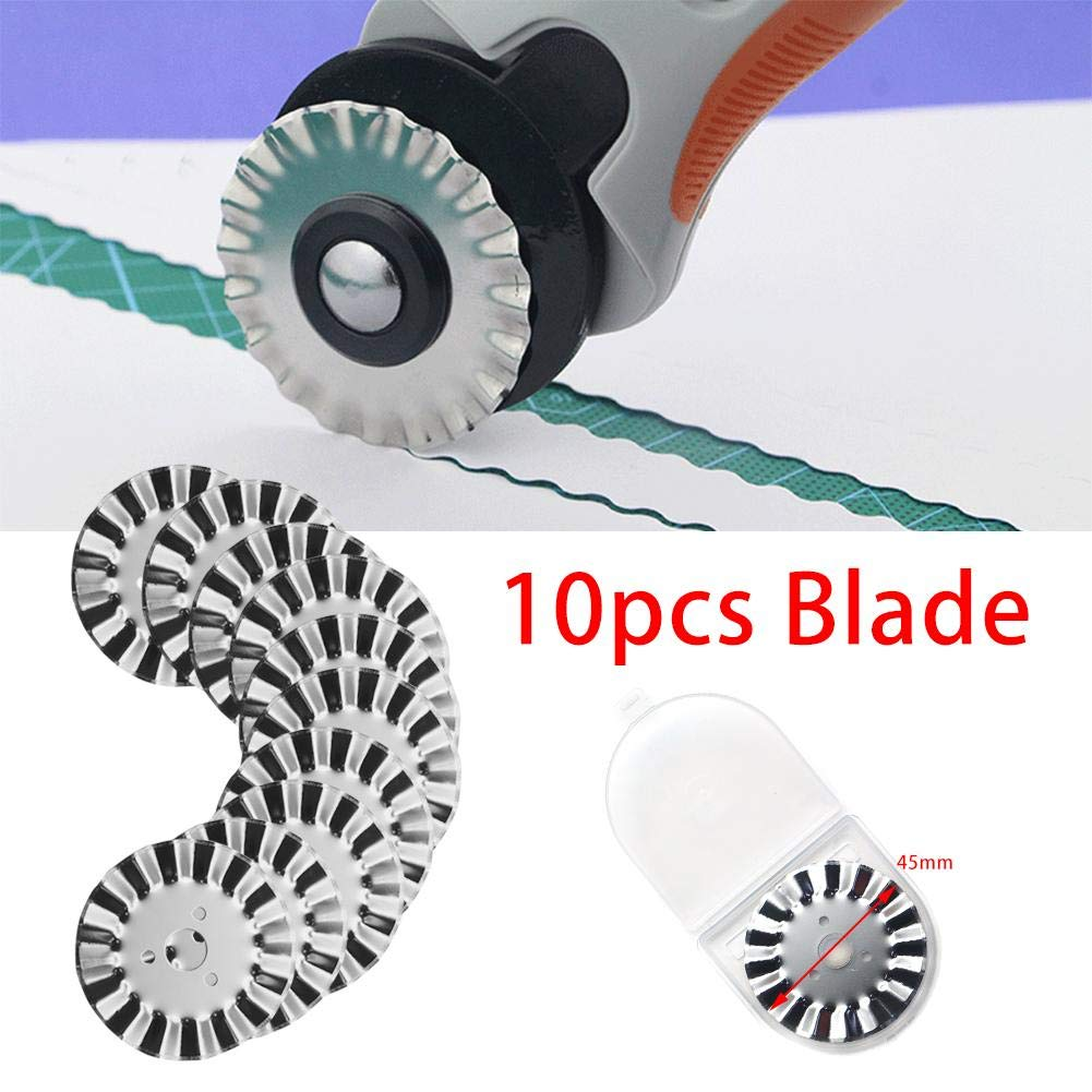 Pack of 10 Wave Rotary Blade 45mm Great Pinking Blade for Quilting,Scrap Booking,Leather,Vinyl etc