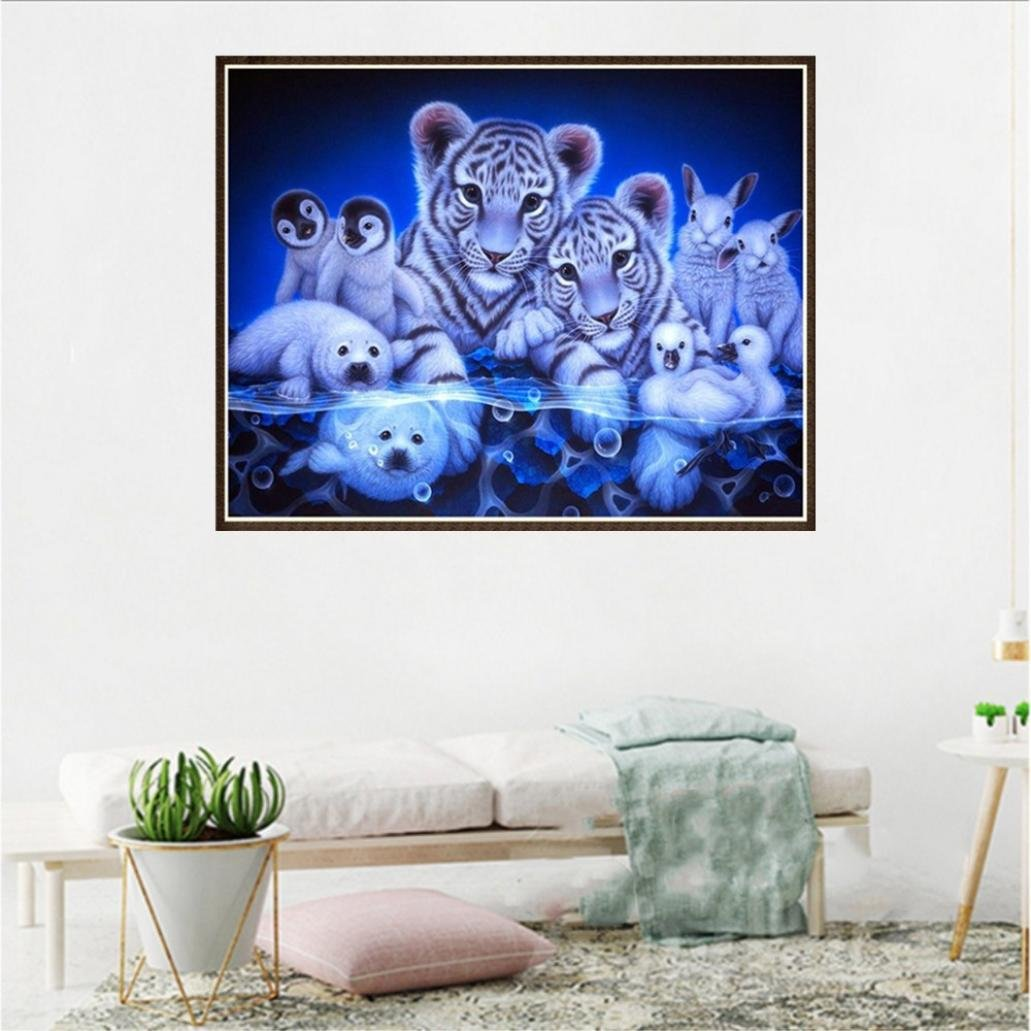 Franterd DIY 5D Diamond Painting Kit - Crystals Diamond Embroidery Rhinestone Painting Pasted Paint By Number Kits Drills Stitch Craft Kit Home Decor Wall Sticker - Lovely Animals by Franterd Art (Image #2)