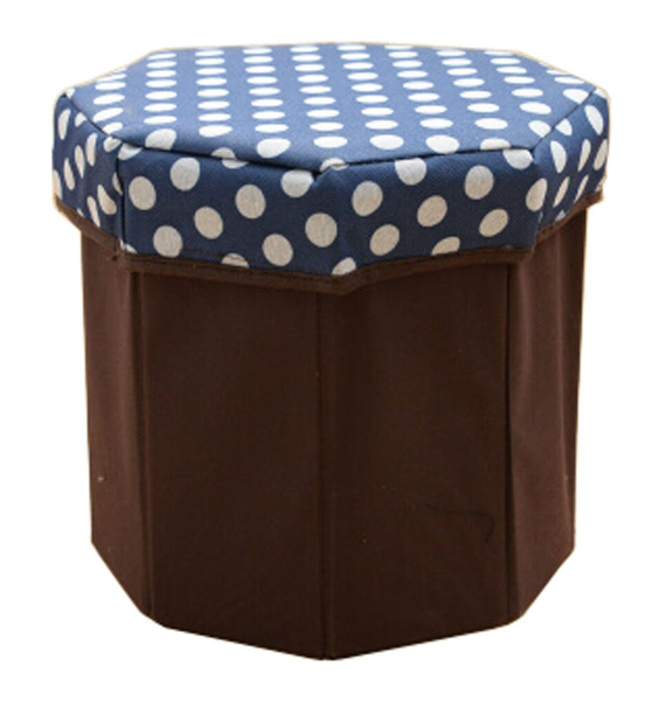 Blancho Storage Ottoman Collapsible Foldable Foot Rest Round Storag Ottoman BLUE Blancho Bedding