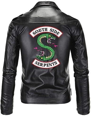 Riverdale Southside Serpientes Gang Negro de Hombre Chaqueta Biker de Piel