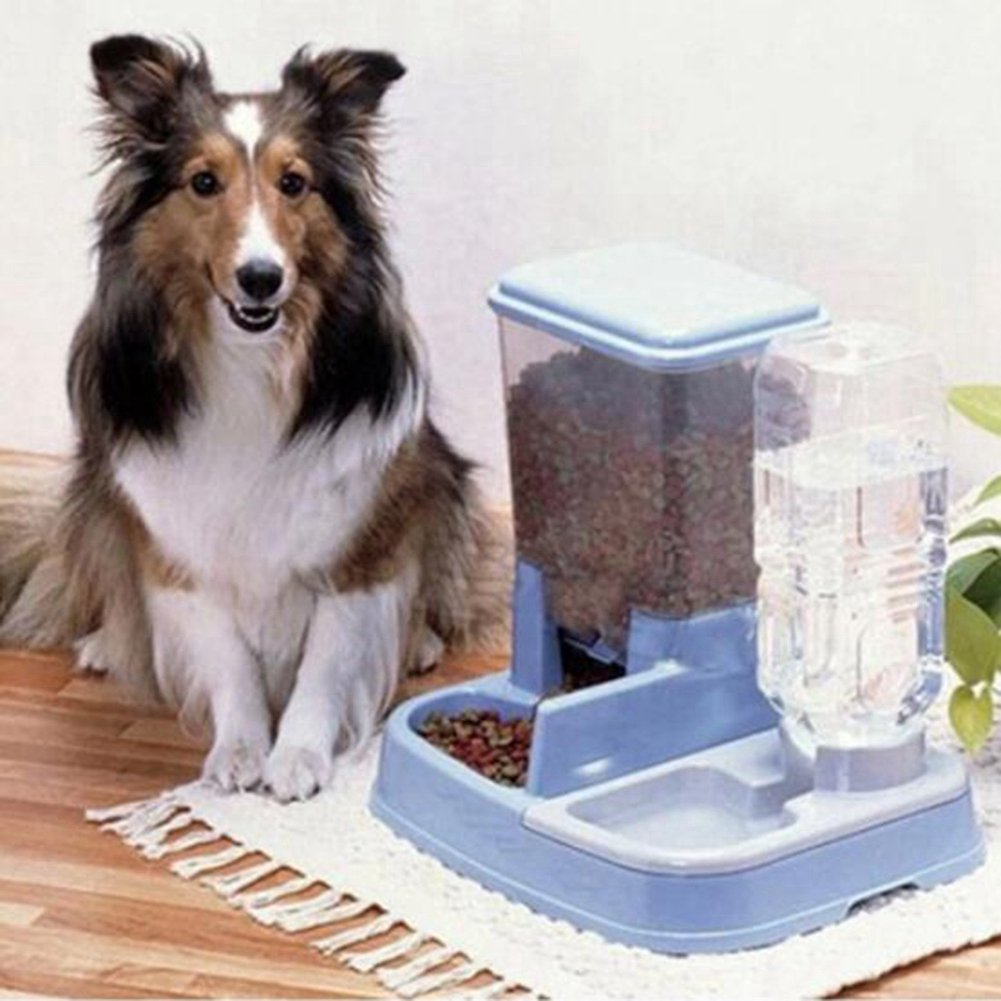 WW Pet Feeder Waterer Automatic 2 In 1 Food Water Bowl For Cats And Dogs,Blue by CW&T (Image #6)