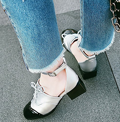 e38007d14 ... IDIFU Womens Trendy Buckle Strap Square Toe Chunky Mid Heeled Color  Block Pumps Silver x4rsjVYgk