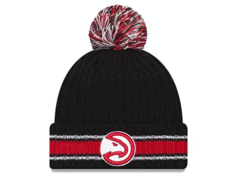 pretty nice 6ea49 1faa1 New Era Atlanta Hawks Chunky Cuff Beanie Hat with Pom Pom - NBA Cuffed Winter  Knit